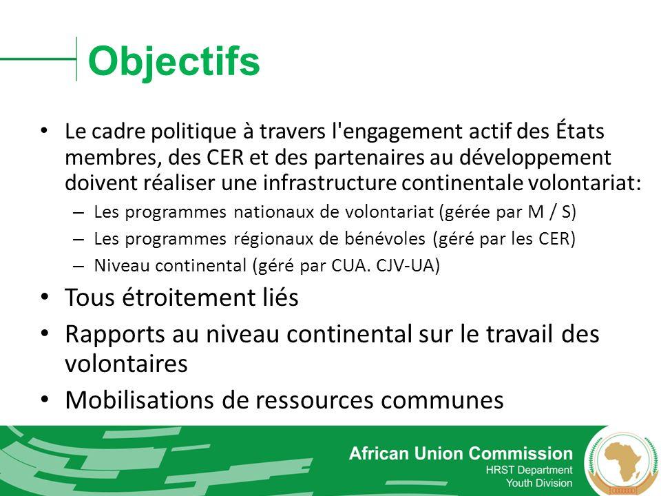 Objectifs Le cadre politique à travers l'engagement actif des États membres, des CER et des partenaires au développement doivent réaliser une infrastr