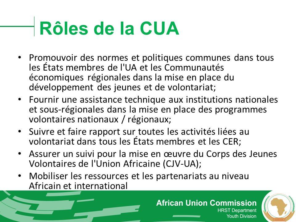 Rôles de la CUA Promouvoir des normes et politiques communes dans tous les États membres de l'UA et les Communautés économiques régionales dans la mis