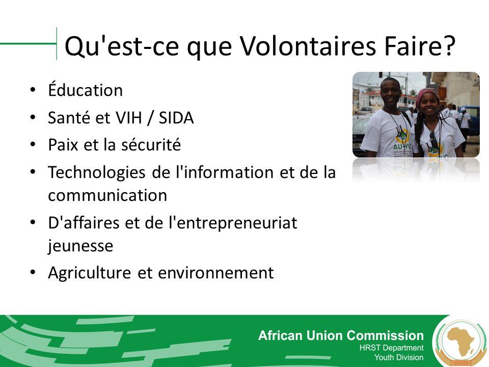 Qu'est-ce que Volontaires Faire? Éducation Santé et VIH / SIDA Paix et la sécurité Technologies de l'information et de la communication D'affaires et