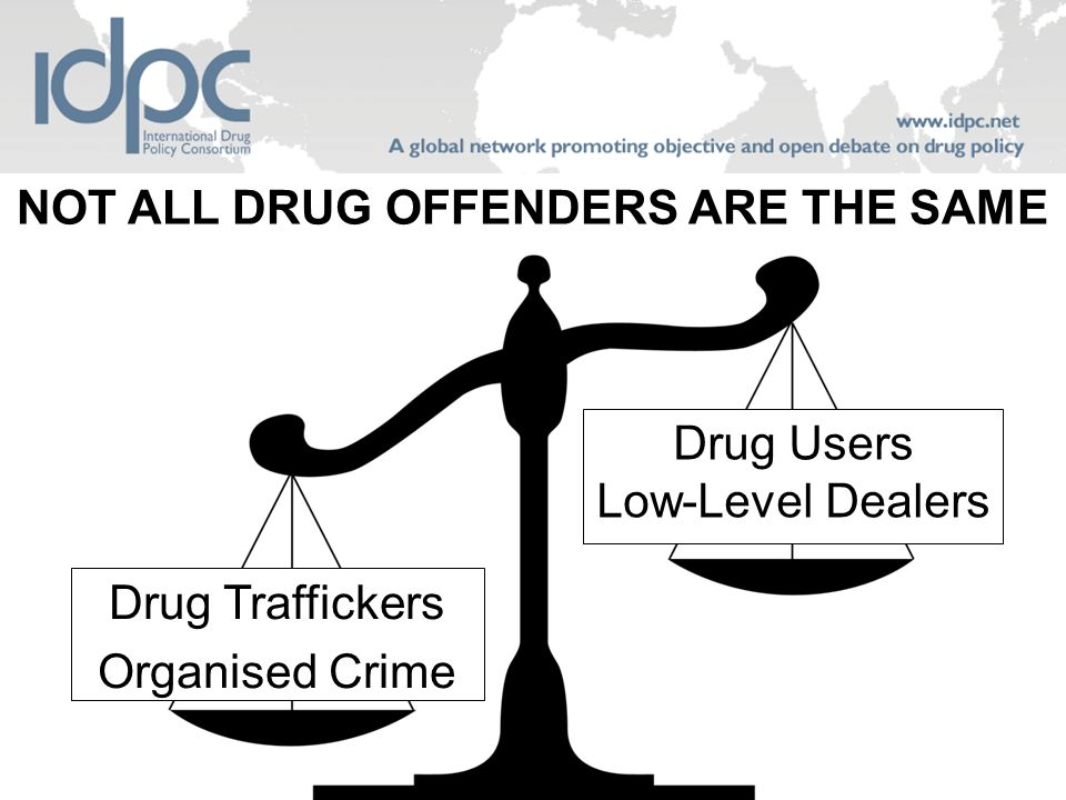 NOT ALL DRUG OFFENDERS ARE THE SAME Drug Traffickers Organised Crime Drug Users Low-Level Dealers
