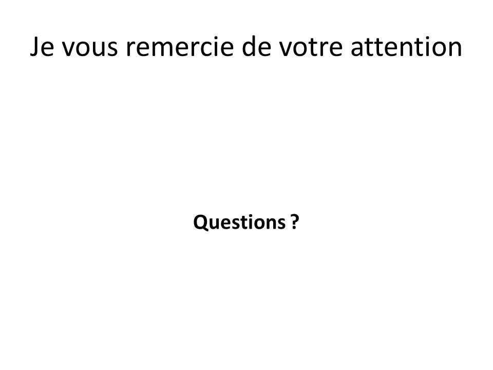 Je vous remercie de votre attention Questions ?