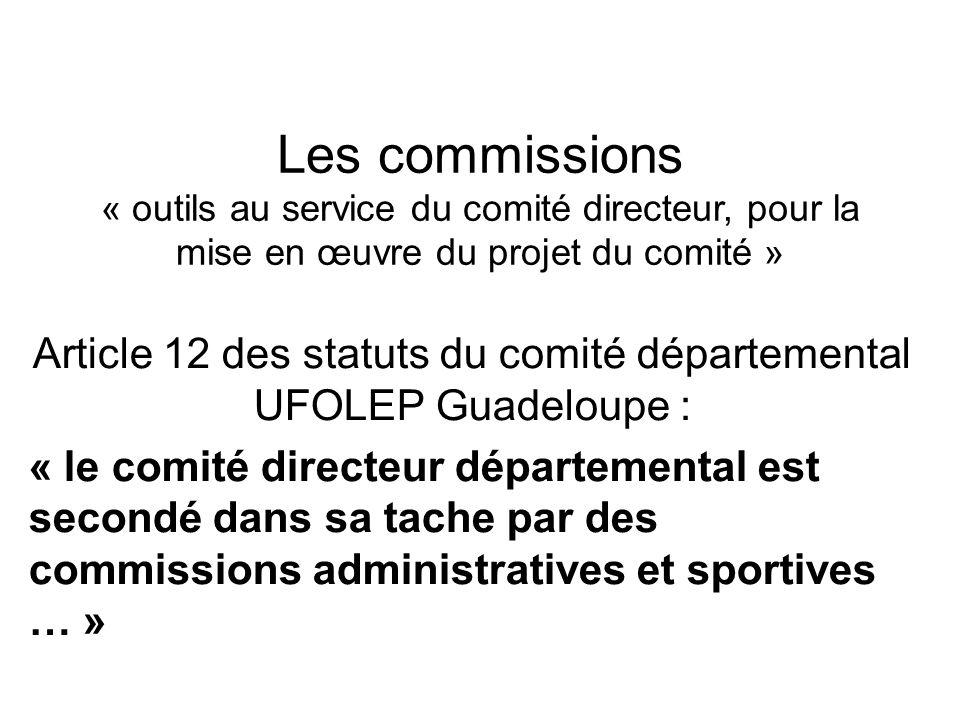Les commissions « outils au service du comité directeur, pour la mise en œuvre du projet du comité » Article 12 des statuts du comité départemental UF