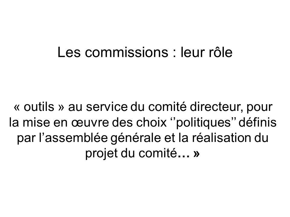 Les commissions : leur rôle « outils » au service du comité directeur, pour la mise en œuvre des choix politiques définis par lassemblée générale et l