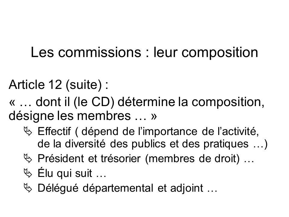 Les commissions : leur composition Article 12 (suite) : « … dont il (le CD) détermine la composition, désigne les membres … » Effectif ( dépend de lim