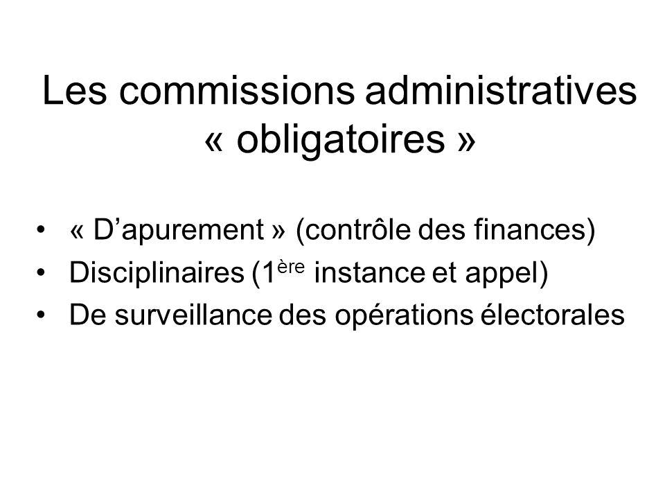 Les commissions administratives « obligatoires » « Dapurement » (contrôle des finances) Disciplinaires (1 ère instance et appel) De surveillance des o