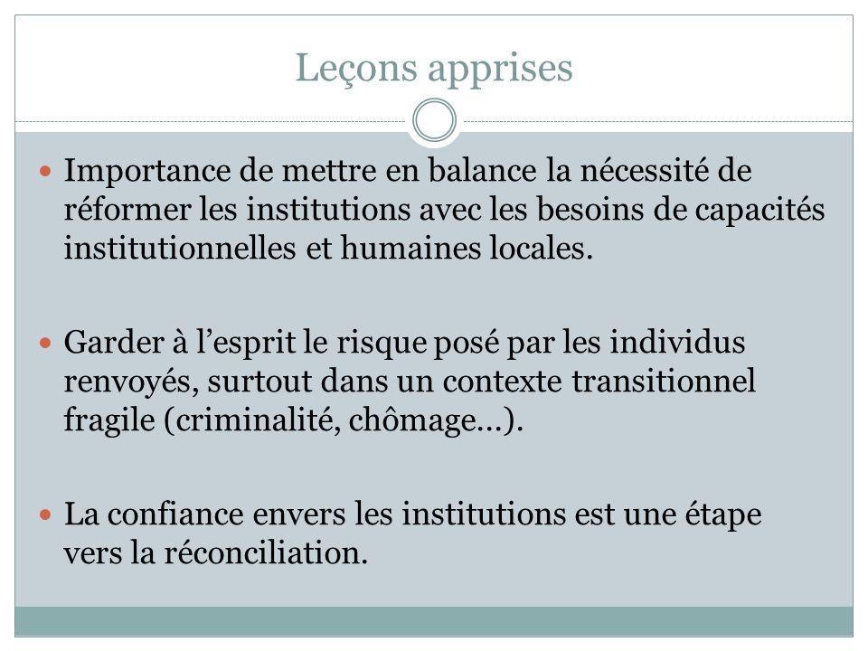 Leçons apprises Importance de mettre en balance la nécessité de réformer les institutions avec les besoins de capacités institutionnelles et humaines
