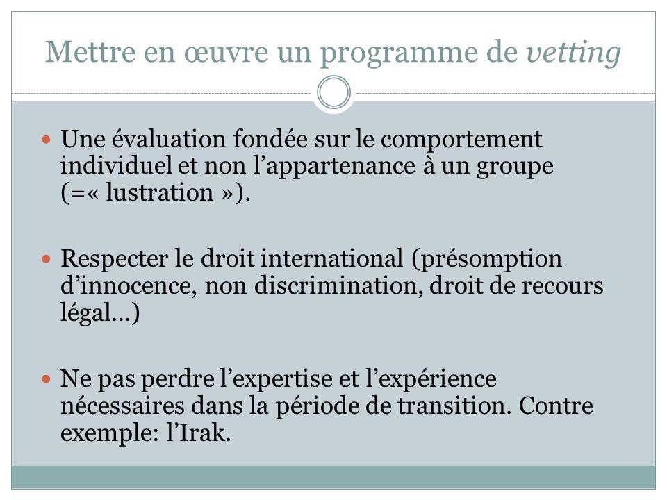 Mettre en œuvre un programme de vetting Une évaluation fondée sur le comportement individuel et non lappartenance à un groupe (=« lustration »).