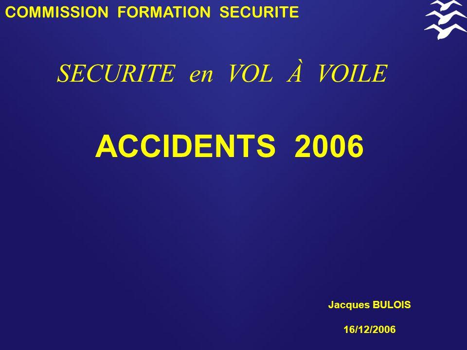 COMMISSION FORMATION SECURITE SECURITE en VOL À VOILE 2006 Abordages ( français et étrangers) Pertes de contrôle du planeur et collisions avec le relief Vol local et atterrissage sur le terrain (encadrement) Motoplaneurs