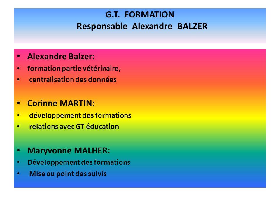 G.T. FORMATION Responsable Alexandre BALZER Alexandre Balzer: formation partie vétérinaire, centralisation des données Corinne MARTIN: développement d