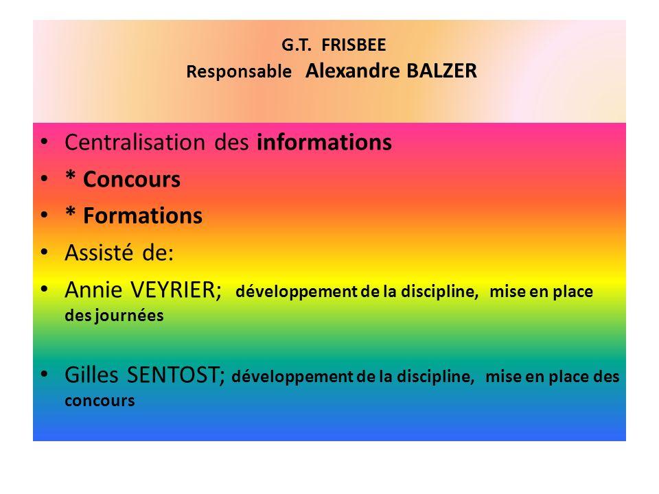 G.T. FRISBEE Responsable Alexandre BALZER Centralisation des informations * Concours * Formations Assisté de: Annie VEYRIER; développement de la disci