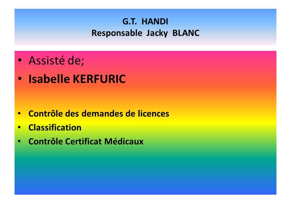 G.T. HANDI Responsable Jacky BLANC Assisté de; Isabelle KERFURIC Contrôle des demandes de licences Classification Contrôle Certificat Médicaux