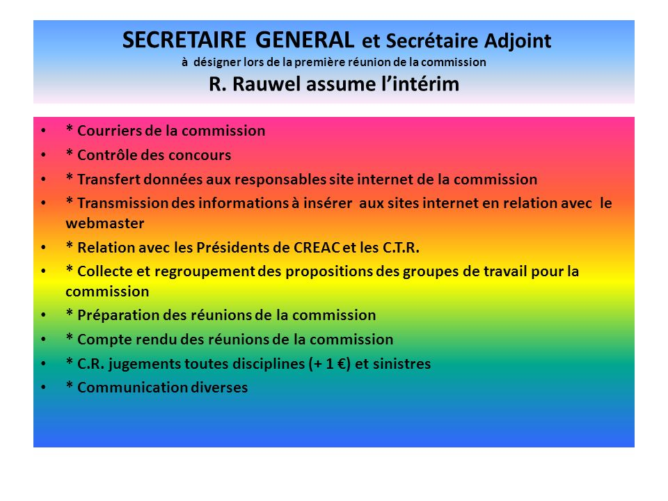 SECRETAIRE GENERAL et Secrétaire Adjoint à désigner lors de la première réunion de la commission R. Rauwel assume lintérim * Courriers de la commissio
