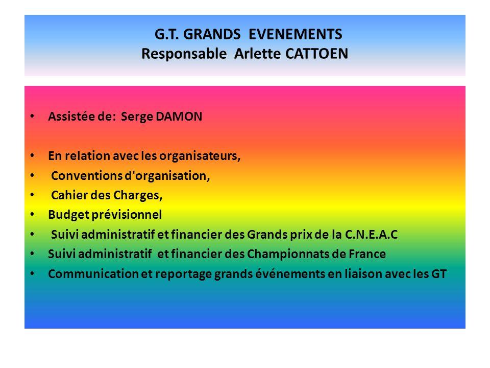 G.T. GRANDS EVENEMENTS Responsable Arlette CATTOEN Assistée de: Serge DAMON En relation avec les organisateurs, Conventions d'organisation, Cahier des