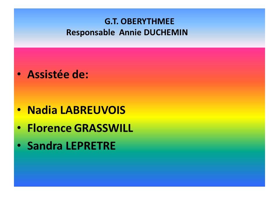 G.T. OBERYTHMEE Responsable Annie DUCHEMIN Assistée de: Nadia LABREUVOIS Florence GRASSWILL Sandra LEPRETRE