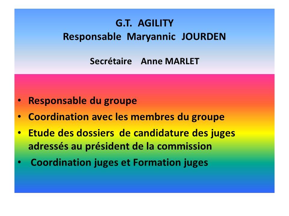 G.T. AGILITY Responsable Maryannic JOURDEN Secrétaire Anne MARLET Responsable du groupe Coordination avec les membres du groupe Etude des dossiers de