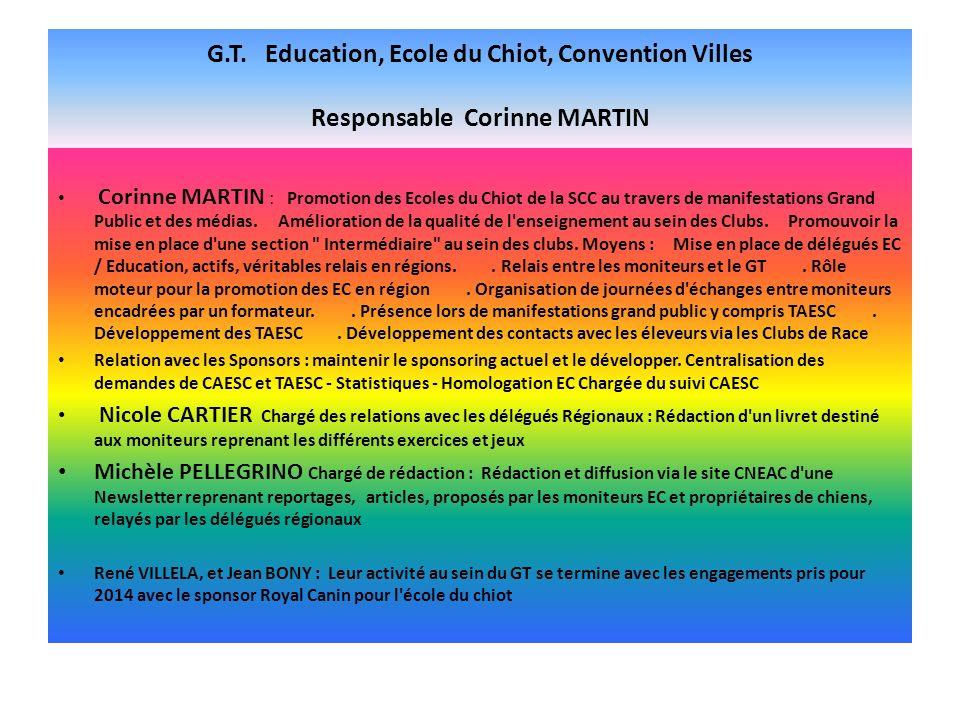 G.T. Education, Ecole du Chiot, Convention Villes Responsable Corinne MARTIN Corinne MARTIN : Promotion des Ecoles du Chiot de la SCC au travers de ma