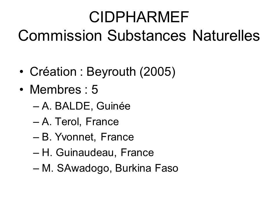 CIDPHARMEF Commission Substances Naturelles Création : Beyrouth (2005) Membres : 5 –A.