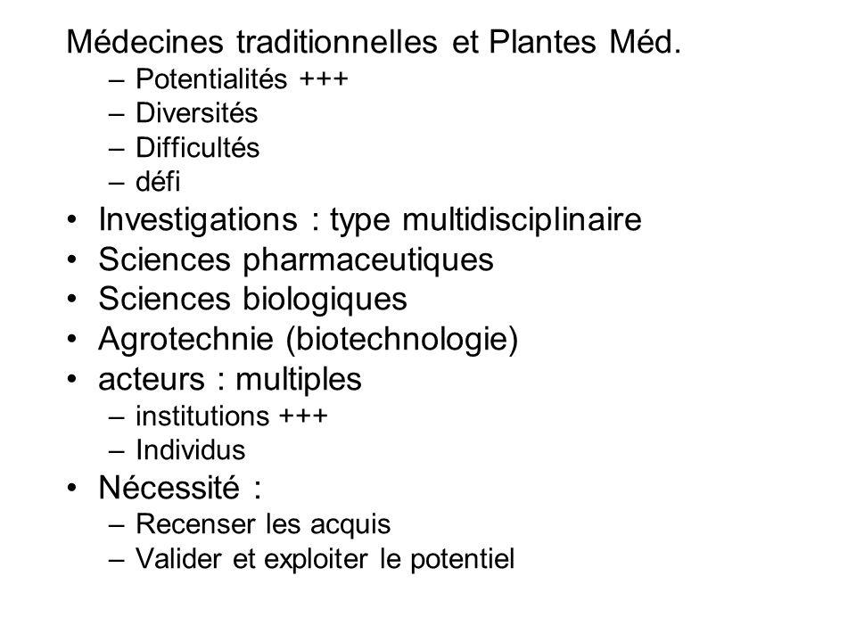 Médecines traditionnelles et Plantes Méd.