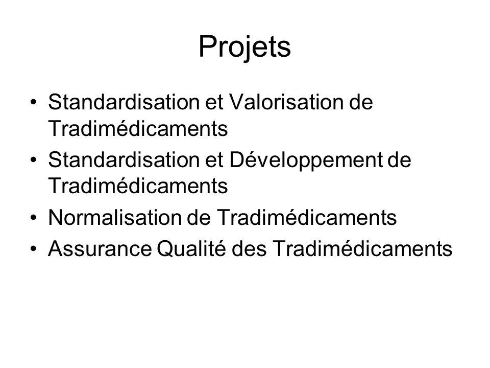 Projets Standardisation et Valorisation de Tradimédicaments Standardisation et Développement de Tradimédicaments Normalisation de Tradimédicaments Assurance Qualité des Tradimédicaments
