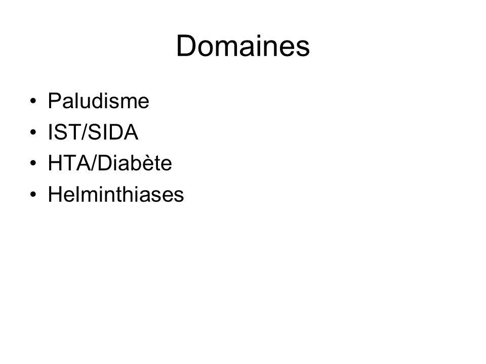 Domaines Paludisme IST/SIDA HTA/Diabète Helminthiases