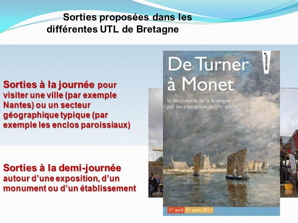 Sorties proposées dans les différentes UTL de Bretagne Sorties à la journée pour visiter une ville (par exemple Nantes) ou un secteur géographique typ