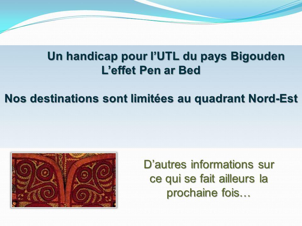 Un handicap pour lUTL du pays Bigouden Leffet Pen ar Bed Nos destinations sont limitées au quadrant Nord-Est Dautres informations sur ce qui se fait a