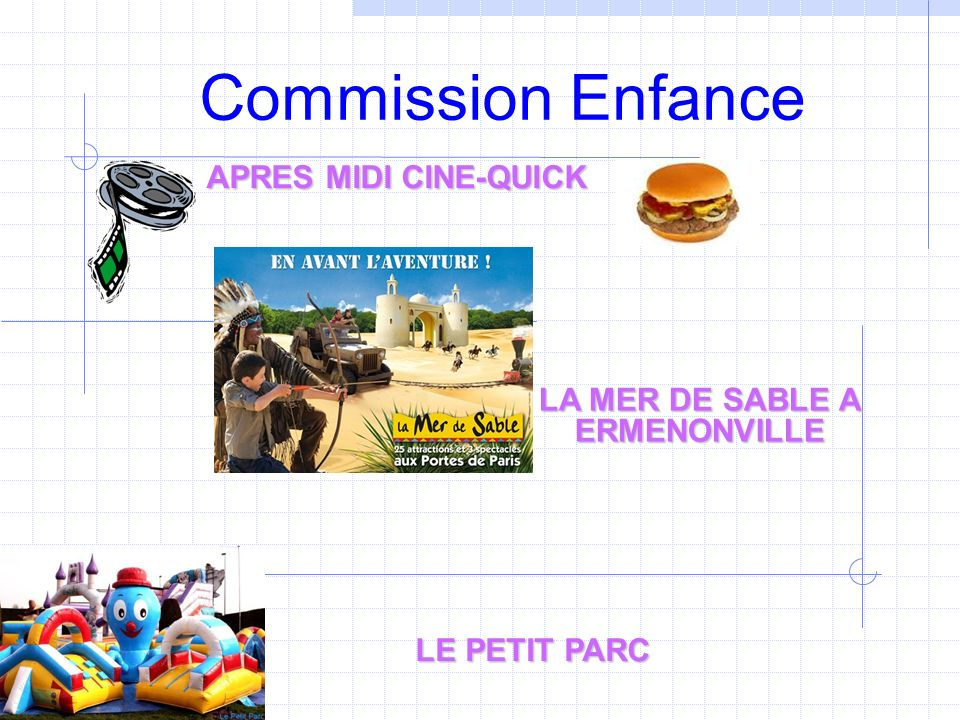 Commission Enfance APRES MIDI CINE-QUICK LA MER DE SABLE A ERMENONVILLE LE PETIT PARC