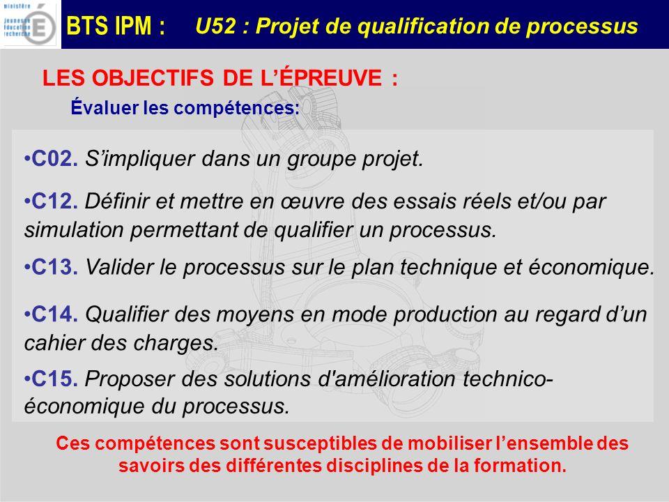 BTS IPM : U52 : Projet de qualification de processus LES OBJECTIFS DE LÉPREUVE : Évaluer les compétences: C02. Simpliquer dans un groupe projet. C12.
