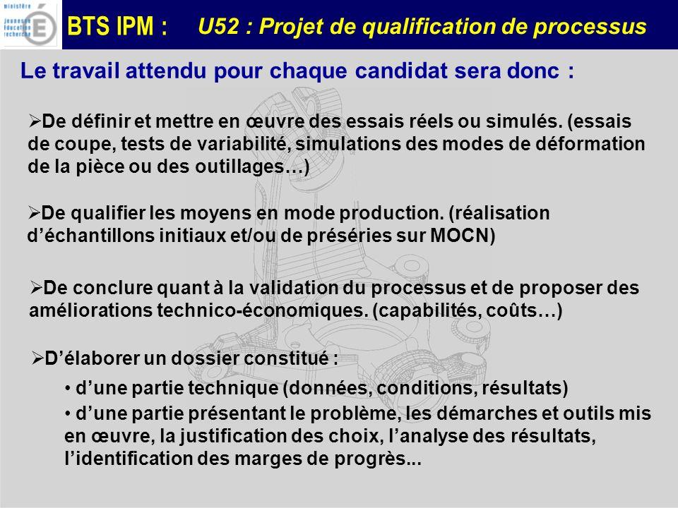 BTS IPM : Le travail attendu pour chaque candidat sera donc : De définir et mettre en œuvre des essais réels ou simulés. (essais de coupe, tests de va