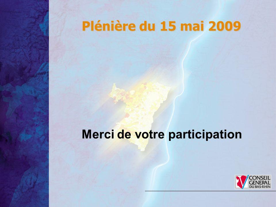 Merci de votre participation Plénière du 15 mai 2009 Plénière du 15 mai 2009