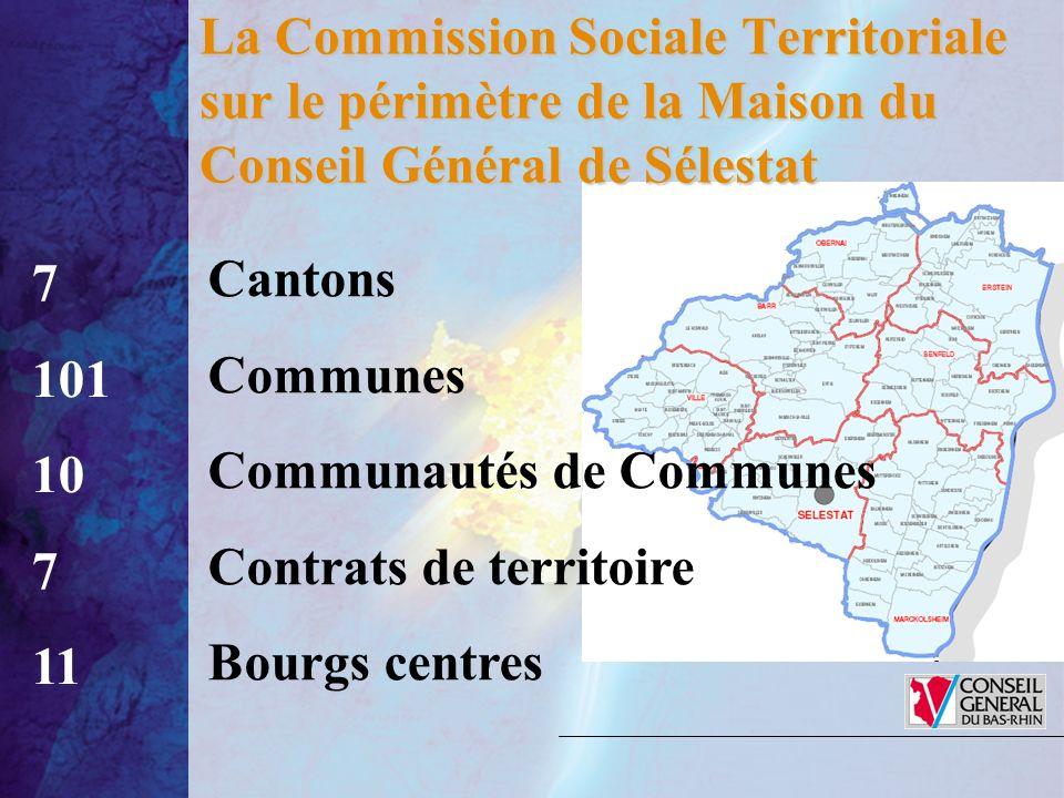 La Commission Sociale Territoriale sur le périmètre de la Maison du Conseil Général de Sélestat 7 101 10 7 11 Cantons Communes Communautés de Communes Contrats de territoire Bourgs centres