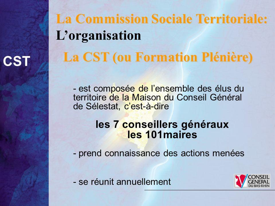 La Commission Sociale Territoriale: La CST (ou Formation Plénière) - est composée de lensemble des élus du territoire de la Maison du Conseil Général