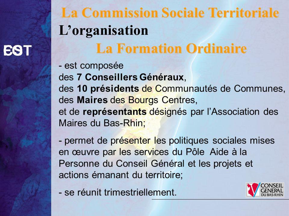 La Commission Sociale Territoriale CSTFO La Formation Ordinaire - est composée des 7 Conseillers Généraux, des 10 présidents de Communautés de Commune