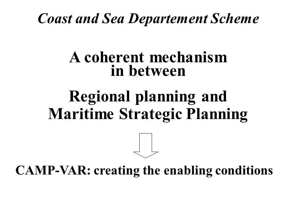 Coast and Sea Departement Scheme A coherent mechanism in between Regional planning and Maritime Strategic Planning CAMP-VAR: creating the enabling con