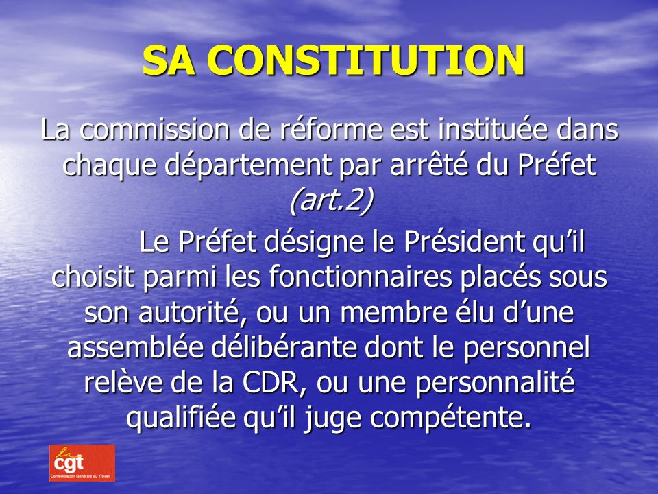 LA COMMISSION DE REFORME S Sa constitution a composition on rôle on fonctionnement
