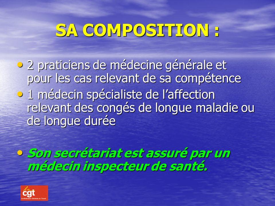 LE COMITE MEDICAL (décret 87-602 du 30/7/87) Il est constitué dans chaque département et placé sous la responsabilité du Préfet