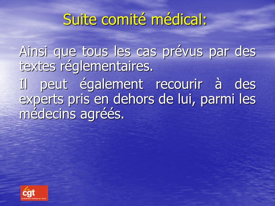 Le Comité médical est consulté pour: art.4 du décret 87-602 du 30 juillet 1987: La prolongation des congés de maladie au-delà de 6 mois consécutifs La