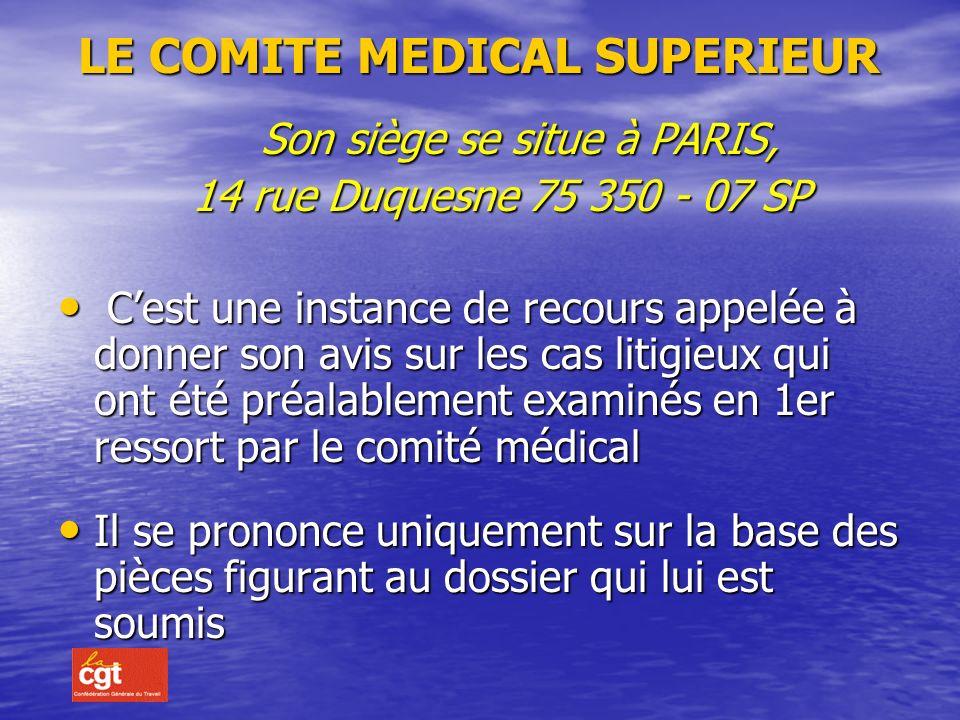 SUITE Le médecin de prévention est informé de la tenue du comité médical et peut formuler des observations écrites ou assister, à titre consultatif, à