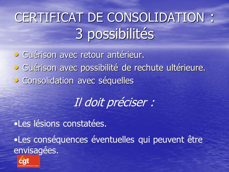 CONSOLIDATION : Elle est effective si : Le traitement actif est terminé et si les séquelles sont définitives et stabilisées. Le traitement actif est t