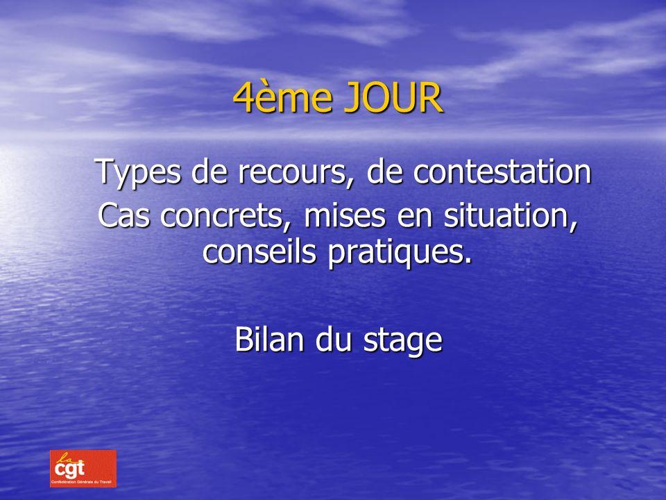 4ème JOUR Types de recours, de contestation Types de recours, de contestation Cas concrets, mises en situation, conseils pratiques.