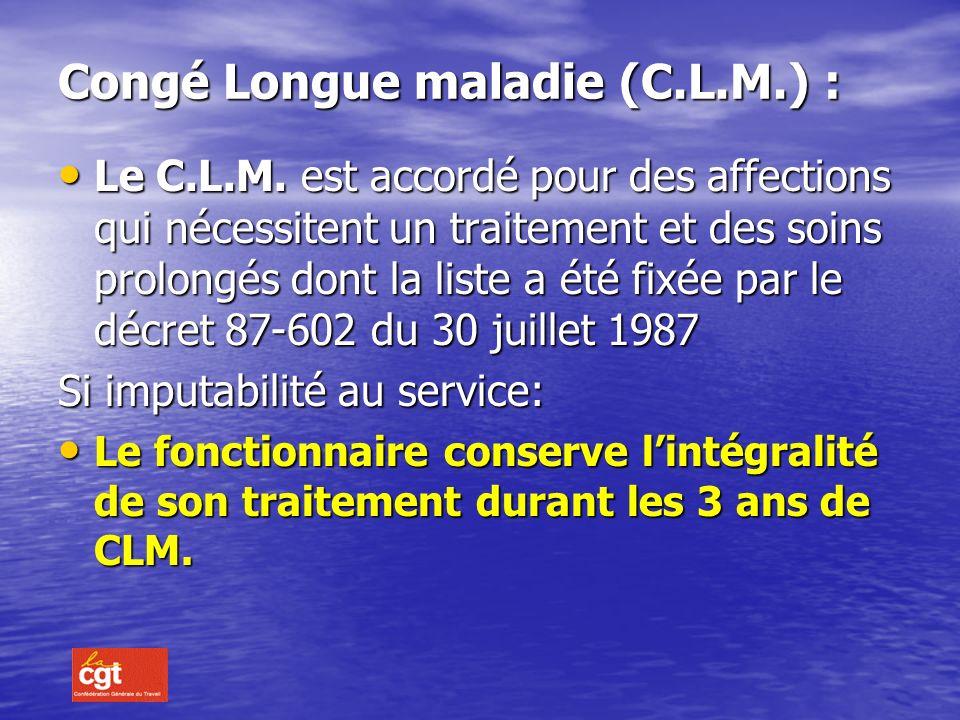 LE CONGE DE LONGUE MALADIE (art.18 et 19) définition : Il est accordé à lagent présentant une affection qui met lintéressé dans limpossibilité dexerce