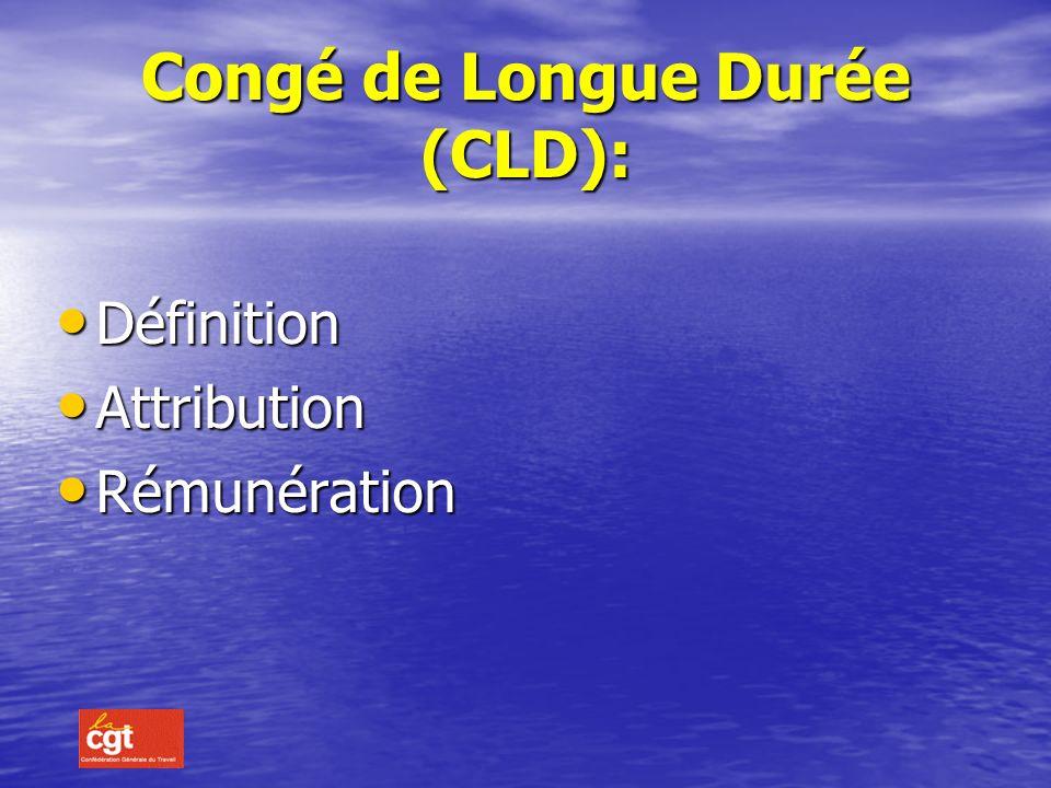 Congé Longue maladie (C.L.M.) : Le C.L.M. est accordé pour des affections qui nécessitent un traitement et des soins prolongés dont la liste a été fix