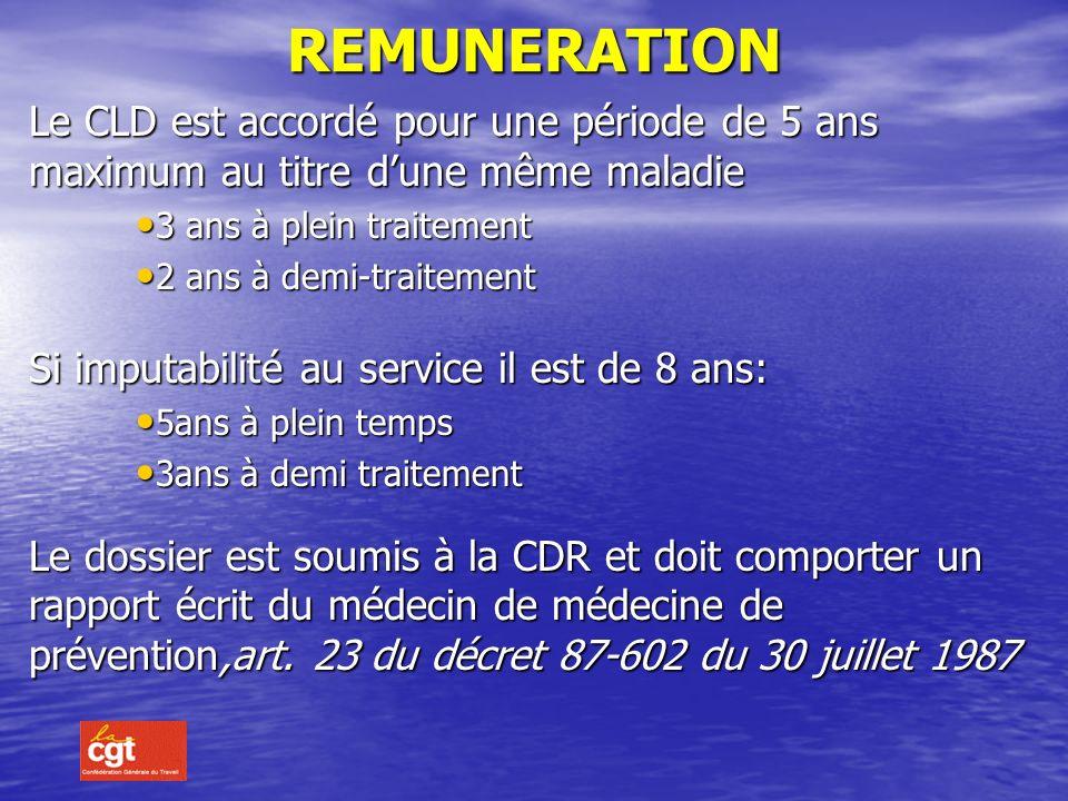 ATTRIBUTION En principe le CLD arrive à lissue de la période rémunérée à plein traitement dun CLM. Cette période est alors considérée en CLD attribuée