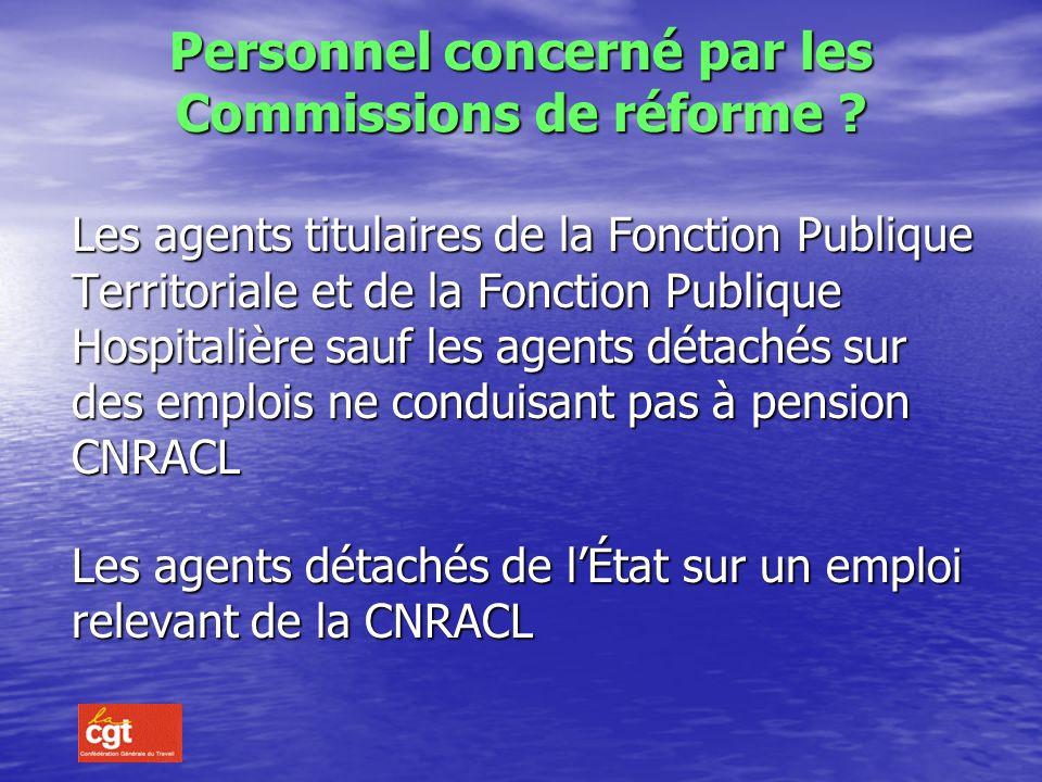 Personnel concerné par les Commissions de réforme .