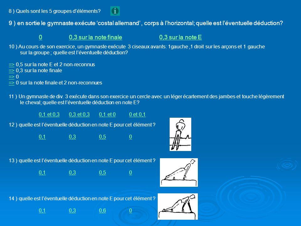 15 ) quelle est léventuelle déduction en note E pour cet élément .