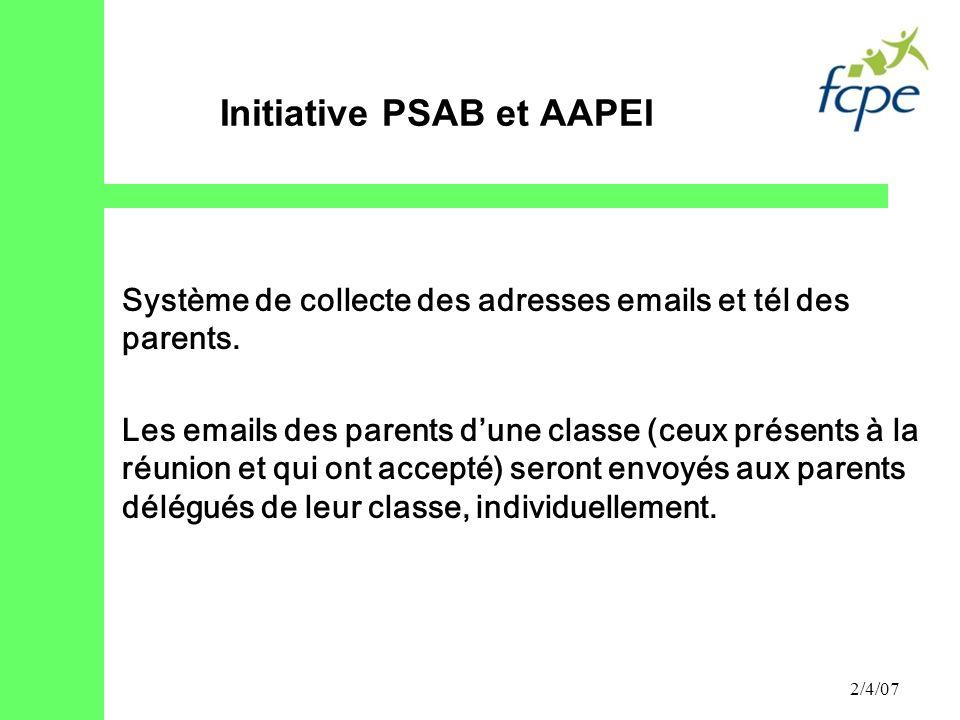 2/4/07 Système de collecte des adresses emails et tél des parents. Les emails des parents dune classe (ceux présents à la réunion et qui ont accepté)