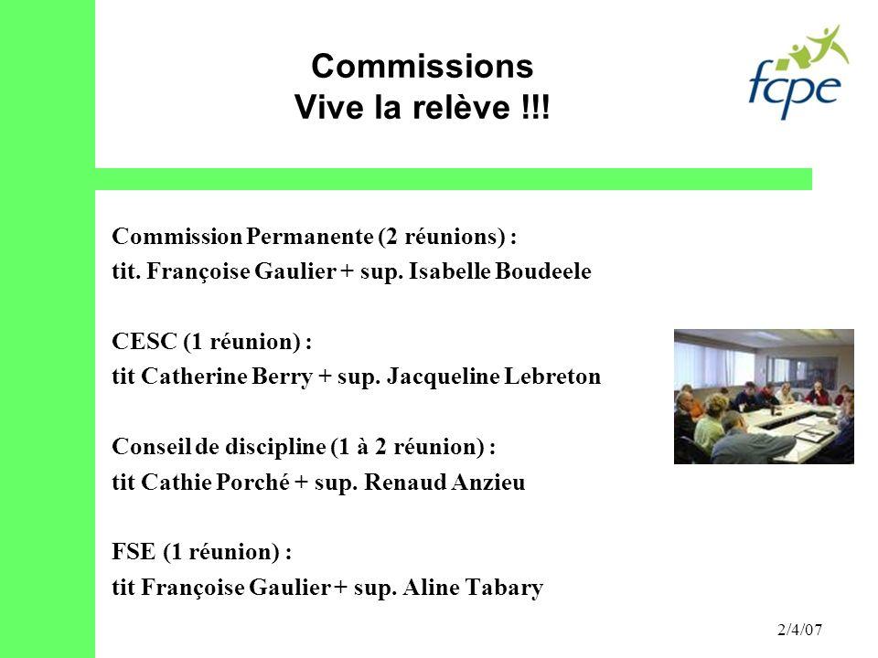 2/4/07 Commission Permanente (2 réunions) : tit. Françoise Gaulier + sup. Isabelle Boudeele CESC (1 réunion) : tit Catherine Berry + sup. Jacqueline L