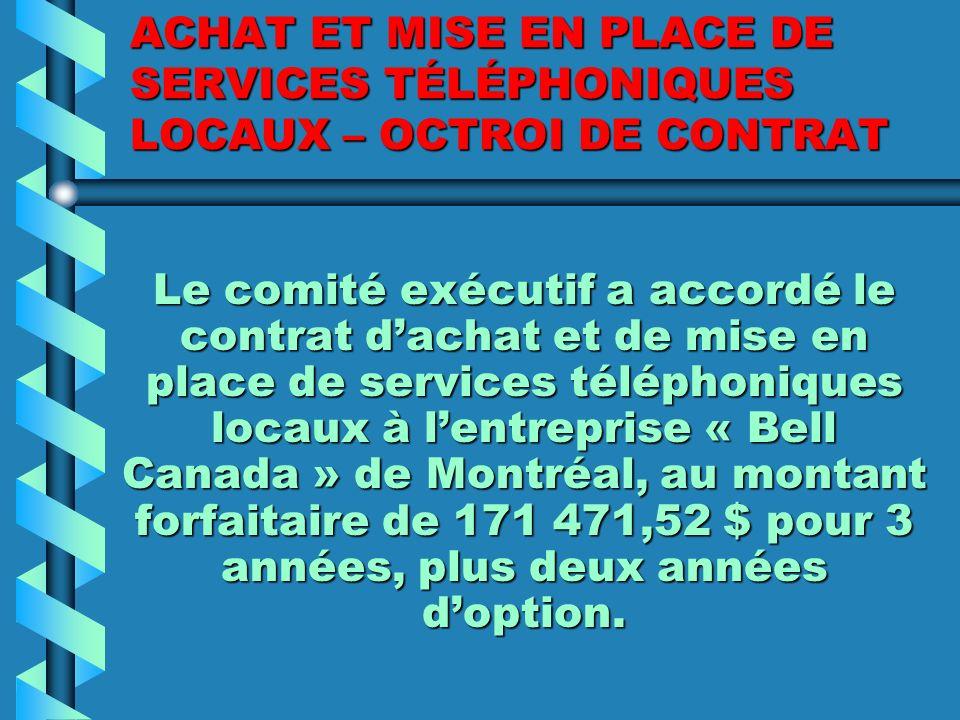 NOMINATION DUNE VICE- PRÉSIDENCE DU COMITÉ EXÉCUTIF M. Michel Beauchamp a été nommé vice-président du comité exécutif.