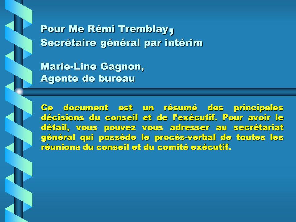 ACHAT ET MISE EN PLACE DE SERVICES TÉLÉPHONIQUES LOCAUX – OCTROI DE CONTRAT Le comité exécutif a accordé le contrat dachat et de mise en place de serv