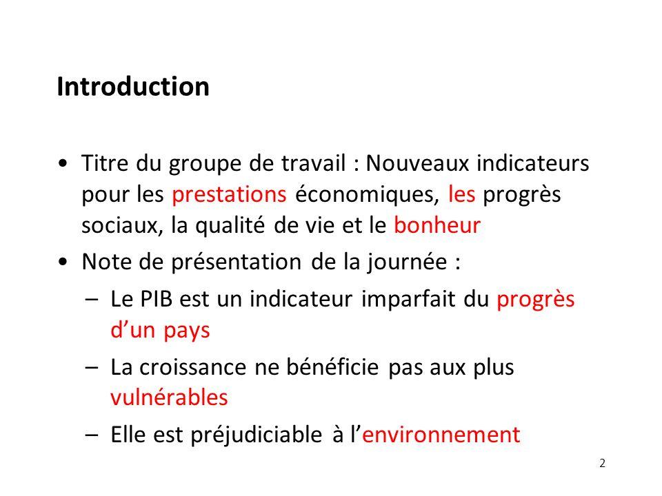 Introduction Titre du groupe de travail : Nouveaux indicateurs pour les prestations économiques, les progrès sociaux, la qualité de vie et le bonheur